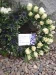 A wreath laid by the Flodden memorial on the anniversary of the battle.